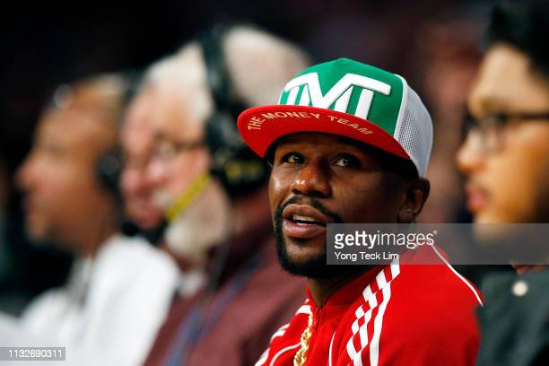 Floyd Mayweather attends a game between the New Orleans Pelicans and the Los Angeles Lakers at Staples Center on February 27 2019 in Los Angeles...