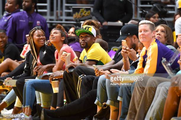 Floyd Mayweather attends a game between the New York Liberty and Los Angeles Sparks on August 14 2018 at Staples Center in Los Angeles California...
