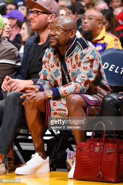 Floyd Mayweather attends the game between the Golden State Warriors and the Los Angeles Lakers on December 18 2017 at STAPLES Center in Los Angeles...