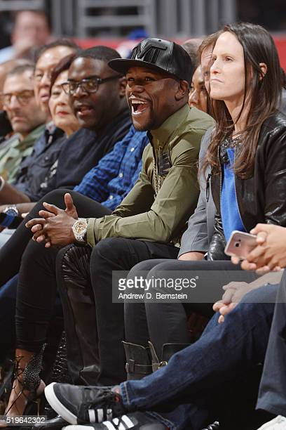 Floyd Mayweather attends the game between the Los Angeles Clippers and the Los Angeles Lakers on April 5 2016 at STAPLES Center in Los Angeles...