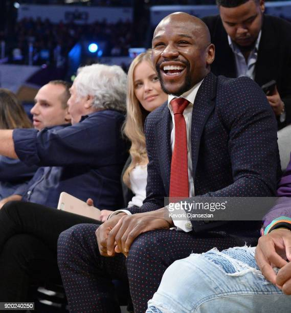 Floyd Mayweather attends the NBA AllStar Game 2018 at Staples Center on February 18 2018 in Los Angeles California
