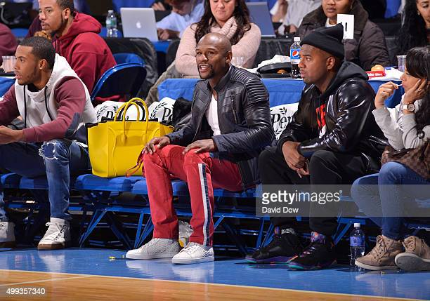 Floyd Mayweather attends the Westchester Knicks game against the Grand Rapids Drive at the Westchester County Center on November 30 2015 in...
