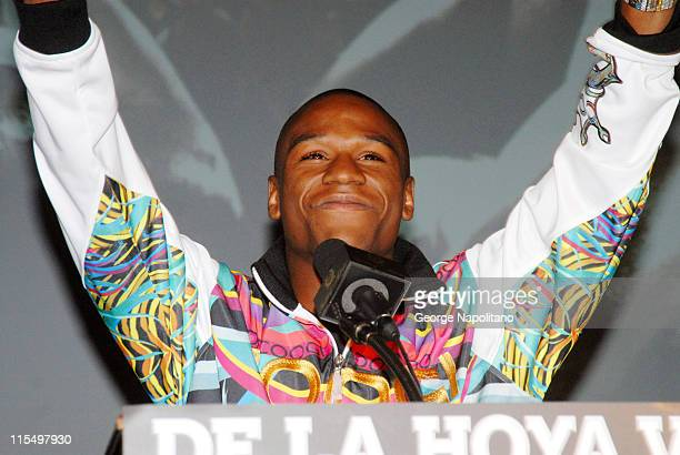 Floyd Mayweather during the press conference at the WaldorfAstoria in New York City on February 20 for the fight between Oscar De La Hoya and Floyd...