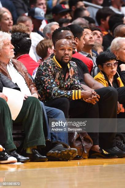 Floyd Mayweather enjoys the game between the Cleveland Cavaliers and Los Angeles Lakerson March 11 2018 at STAPLES Center in Los Angeles California...