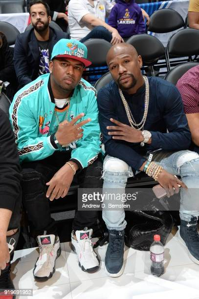 Floyd Mayweather enjoys the Taco Bell Skills Challenge during State Farm AllStar Saturday Night as part of the 2018 NBA AllStar Weekend on February...