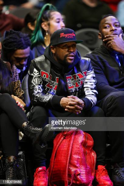 Floyd Mayweather is seen at a game between the Atlanta Hawks and the Milwaukee Bucks at State Farm Arena on December 27, 2019 in Atlanta, Georgia....