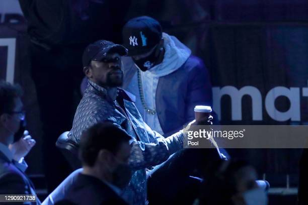 Floyd Mayweather is seen in the crowd prior to the IBF, WBA, WBO and IBO World Heayweight Title fight between Anthony Joshua and Kubrat Pulev at The...