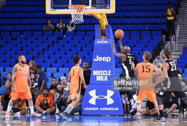 Floyd Mayweather James Kyson Colton Underwood and Bryan Braman attend Monster Energy Outbreak Presents $50K Charity Challenge Celebrity Basketball...