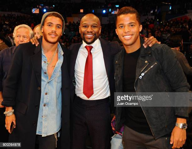 Floyd Mayweather Jonathan dos Santos and Giovani dos Santos pose for a photo during the NBA AllStar Game as a part of 2018 NBA AllStar Weekend at...