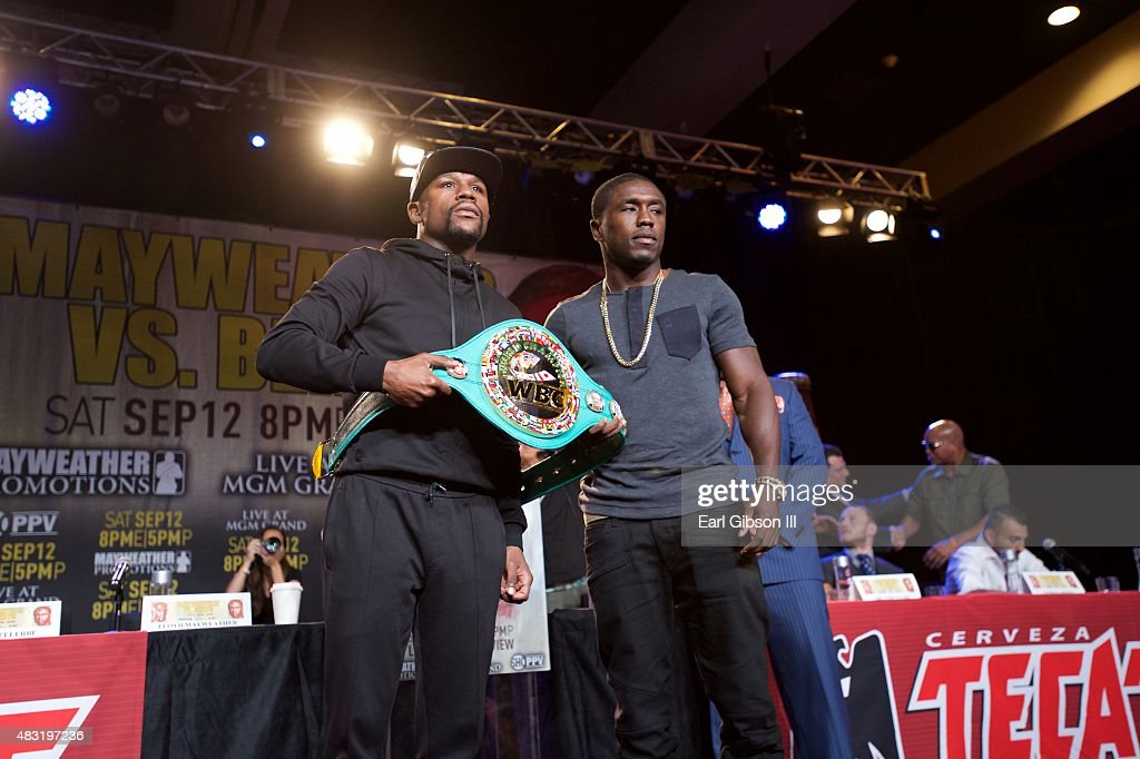 Floyd Mayweather Jr. and Andre Berto attend the Los Angeles press conference announcing the Las Vegas fight date at JW Marriott Los Angeles at L.A. LIVE on August 6, 2015 in Los Angeles, California.
