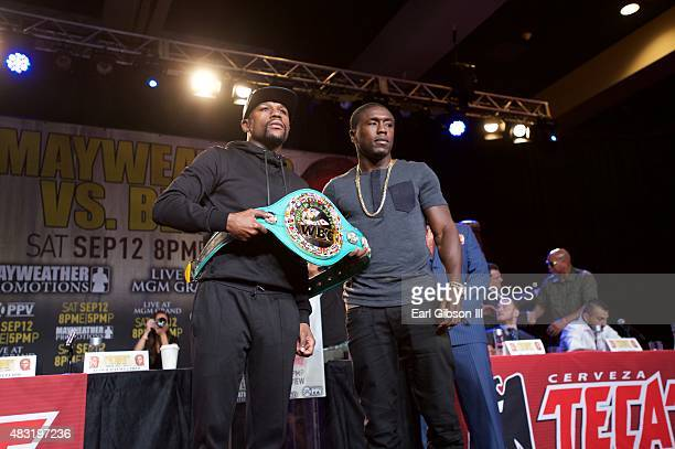 Floyd Mayweather Jr and Andre Berto attend the Los Angeles press conference announcing the Las Vegas fight date at JW Marriott Los Angeles at LA LIVE...