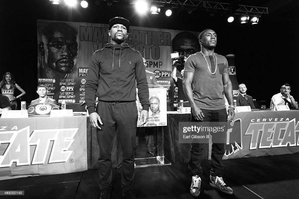 "Floyd ""Money"" Mayweather And Andre Berto Host Los Angeles Press Conference Announcing Las Vegas Fight Date"