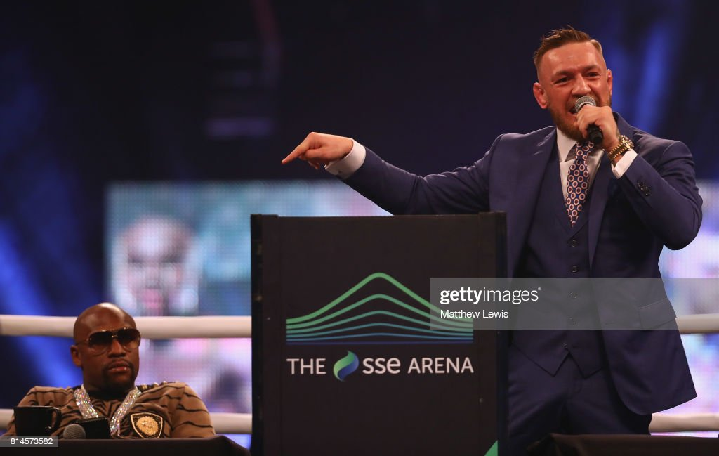Floyd Mayweather Jr. and Conor McGregor during the Floyd Mayweather Jr. v Conor McGregor World Press Tour at SSE Arena on July 14, 2017 in London, England.