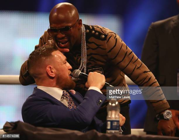 Floyd Mayweather Jr and Conor McGregor during the Floyd Mayweather Jr v Conor McGregor World Press Tour at SSE Arena on July 14 2017 in London England
