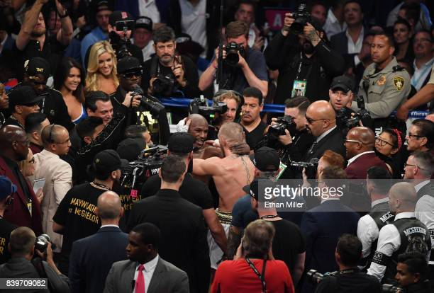 Floyd Mayweather Jr and Conor McGregor speak following Mayweather's 10thround TKO of McGregor in their super welterweight boxing match on August 26...