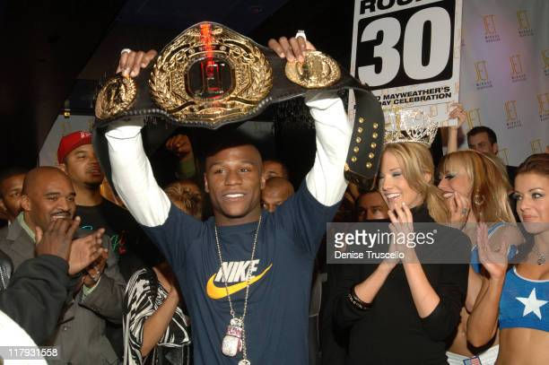 Floyd Mayweather Jr and Katie Rees during Floyd Mayweather Jr's 30th Birthday Party at JET Nightclub at The Mirage Hotel and Casino Resort at JET...