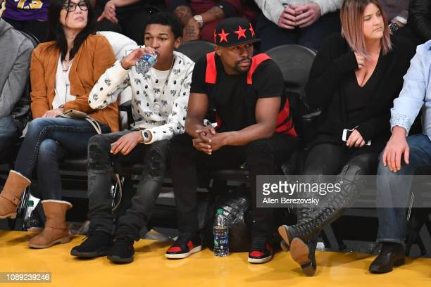 Floyd Mayweather Jr and Koraun Mayweather attend a basketball game between the Los Angeles Lakers and the Oklahoma City Thunder at Staples Center on...