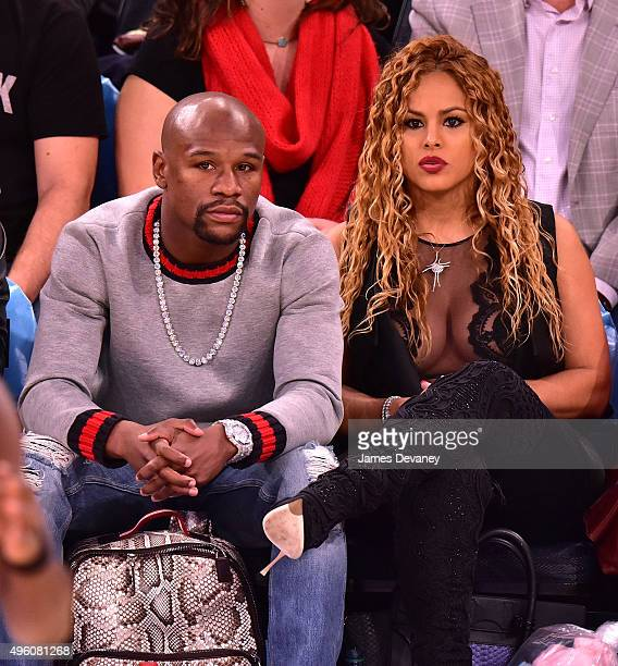 Floyd Mayweather Jr and Liza Hernandez attend New York Knicks vs Milwaukee Bucks game at Madison Square Garden on November 6 2015 in New York City