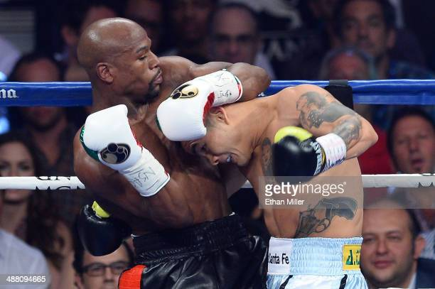 Floyd Mayweather Jr and Marcos Maidana exchange blows during their WBC/WBA welterweight unification fight at the MGM Grand Garden Arena on May 3 2014...