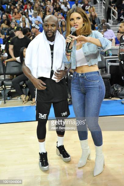 Floyd Mayweather Jr and Maria Menounos attend Monster Energy Outbreak $50K Charity Challenge celebrity basketball game at UCLA on July 17 2018 in Los...