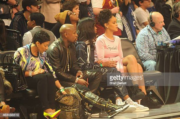 Floyd Mayweather, Jr. And Rihanna attend State Farm All-Star Saturday Night - NBA All-Star Weekend 2015 at Barclays Center on February 14, 2015 in...