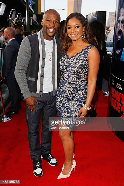 Floyd Mayweather Jr and Tamala Jones walk the 'A Haunted House 2' Los Angeles Premiere Red Carpet at Regal Cinemas LA Live on April 16 2014 in Los...