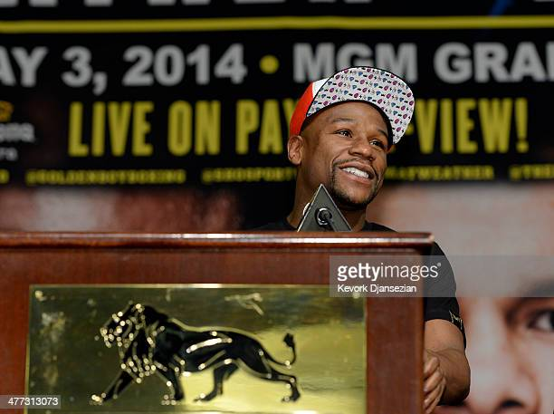 Floyd Mayweather Jr announces fight against Marcos Maidana during a news conference at at the MGM Grand Hotel/Casino March 8 in Las Vegas Nevada...