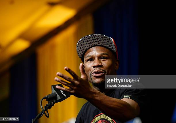 Floyd Mayweather Jr announces his upcoming Marcos El Chino Maidana during a news conference at at the MGM Grand Hotel/Casino March 8 in Las Vegas...
