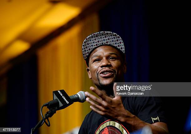 Floyd Mayweather Jr announces his upcoming Marcos El Chino Maidana during a news conference at the MGM Grand Hotel/Casino March 8 in Las Vegas Nevada