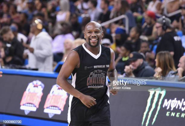 Floyd Mayweather Jr attends 50K Charity Challenge Celebrity Basketball Game at UCLA's Pauley Pavilion on July 17 2018 in Westwood California