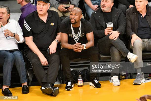 Floyd Mayweather Jr attends a basketball game between the Los Angeles Lakers and the Houston Rockets at Staples Center on October 20 2018 in Los...
