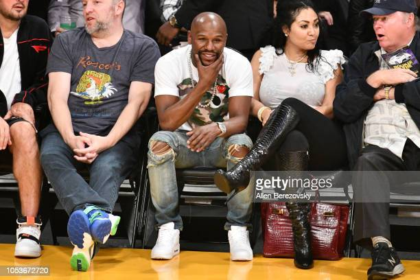 Floyd Mayweather Jr attends a basketball game between the Los Angeles Lakers and the Denver Nuggets at Staples Center on October 25 2018 in Los...