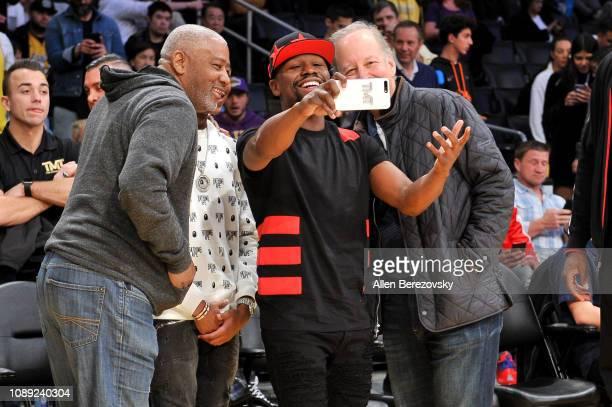 Floyd Mayweather Jr attends a basketball game between the Los Angeles Lakers and the Oklahoma City Thunder at Staples Center on January 02 2019 in...