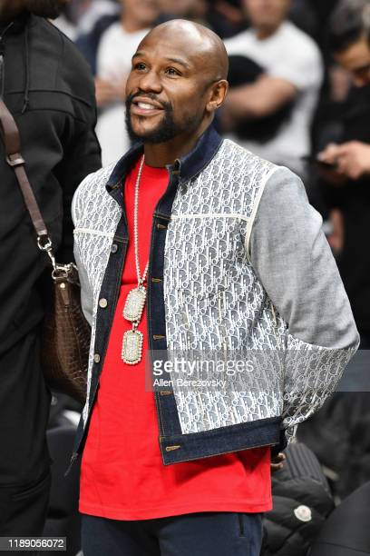Floyd Mayweather Jr. Attends a basketball game between the Los Angeles Clippers and the Boston Celtics at Staples Center on November 20, 2019 in Los...