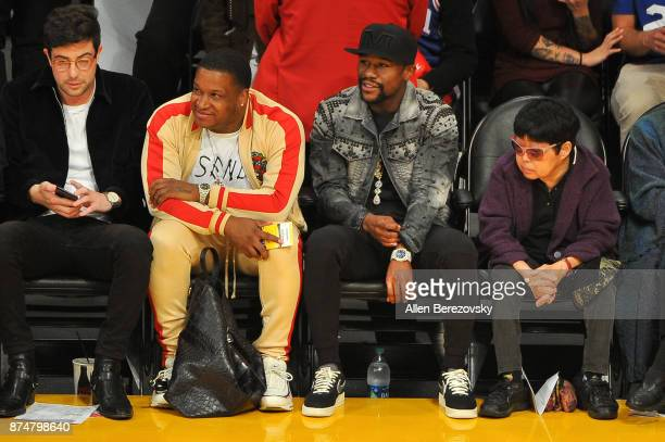 Floyd Mayweather Jr attends a basketball game between the Los Angeles Lakers and the Philadelphia 76ers at Staples Center on November 15 2017 in Los...