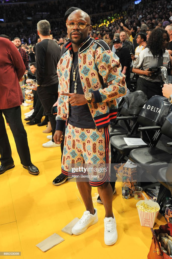 Floyd Mayweather, Jr. attends a basketball game between the Los Angeles Lakers and the Golden State Warriors at Staples Center on December 18, 2017 in Los Angeles, California.