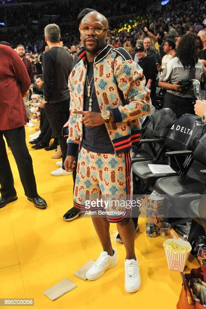 Floyd Mayweather Jr attends a basketball game between the Los Angeles Lakers and the Golden State Warriors at Staples Center on December 18 2017 in...