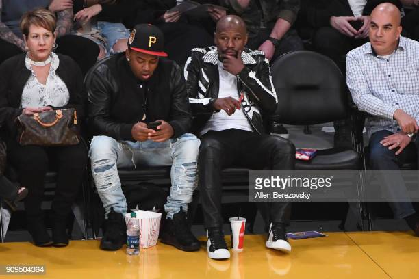 Floyd Mayweather Jr attends a basketball game between the Los Angeles Lakers and the Boston Celtics at Staples Center on January 23 2018 in Los...