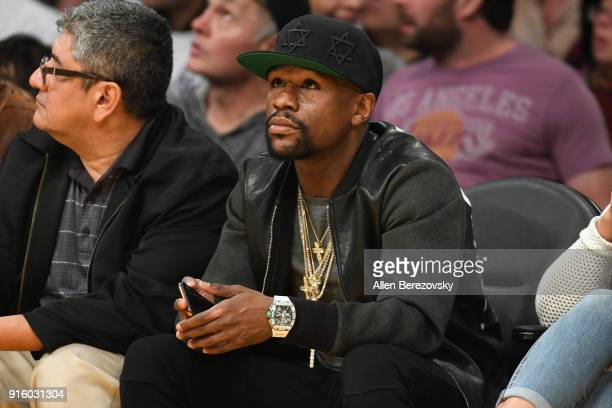 Floyd Mayweather Jr attends a basketball game between the Los Angeles Lakers and the Oklahoma City Thunder at Staples Center on February 8 2018 in...