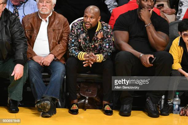 Floyd Mayweather Jr attends a basketball game between the Los Angeles Lakers and the Cleveland Cavaliers at Staples Center on March 11 2018 in Los...