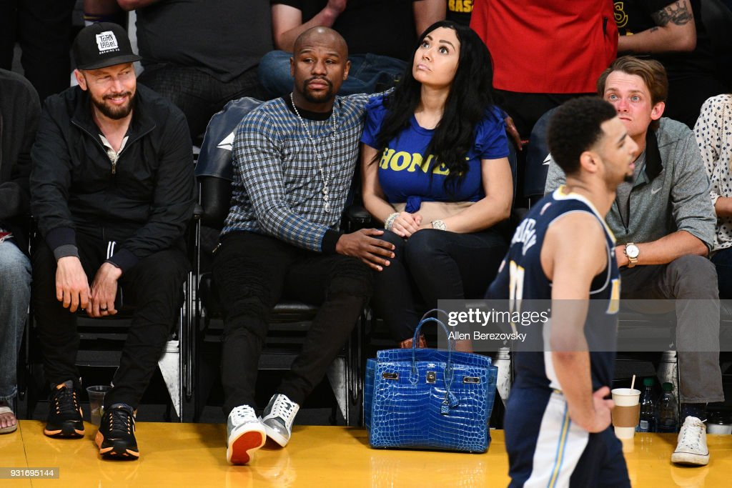 Floyd Mayweather Jr. attends a basketball game between the Los Angeles Lakers and the Denver Nuggets at Staples Center on March 13, 2018 in Los Angeles, California.