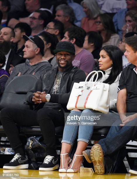 Floyd Mayweather Jr attends a basketball game between the Oklahoma City Thunder and Los Angeles Lakers at Staples Center on February 8 2018 in Los...