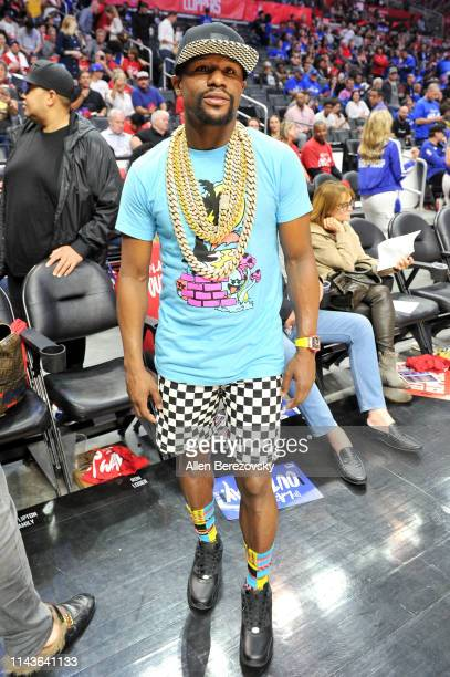 Floyd Mayweather Jr attends an NBA playoffs basketball game between the Los Angeles Clippers and the Golden State Warriors at Staples Center on April...