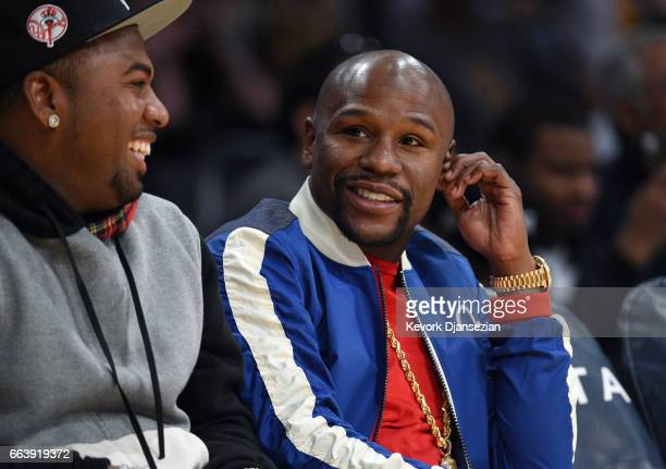 Floyd Mayweather Jr attends Memphis Grizzlies and Los Angeles Lakers basketball game at Staples Center April 2 2017 in Los Angeles California