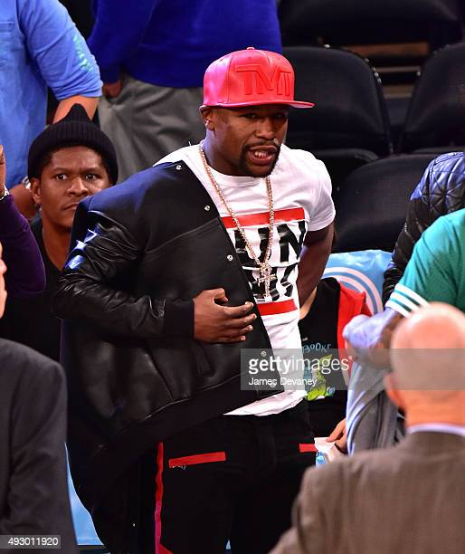 Floyd Mayweather Jr attends the Boston Celtics vs New York Knicks game at Madison Square Garden on October 16 2015 in New York City