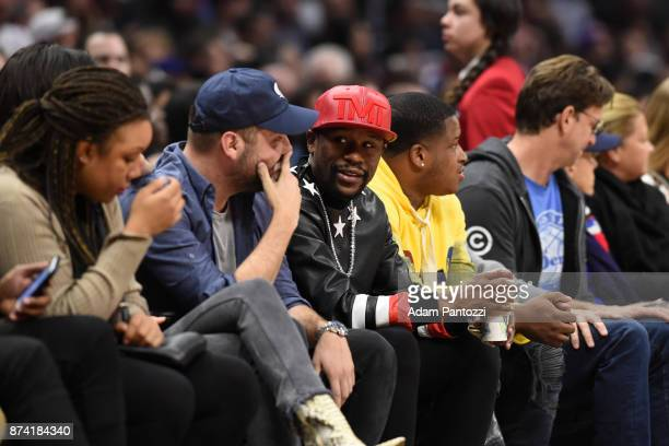 Floyd Mayweather Jr attends the game between the Philadelphia 76ers and LA Clippers on November 13 2017 at STAPLES Center in Los Angeles California...