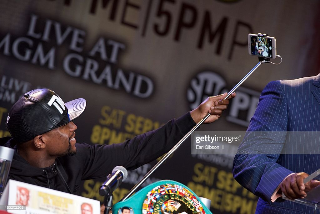 Floyd Mayweather Jr. attends the Los Angeles press conference announcing his upcoming Las Vegas fight date at JW Marriott Los Angeles at L.A. LIVE on August 6, 2015 in Los Angeles, California.