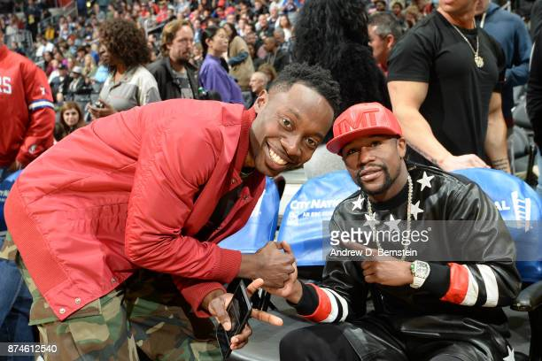 Floyd Mayweather Jr attends the Philadelphia 76ers game against the LA Clippers on November 13 2017 at STAPLES Center in Los Angeles California NOTE...