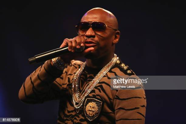 Floyd Mayweather Jr during the Floyd Mayweather Jr v Conor McGregor World Press Tour at SSE Arena on July 14 2017 in London England