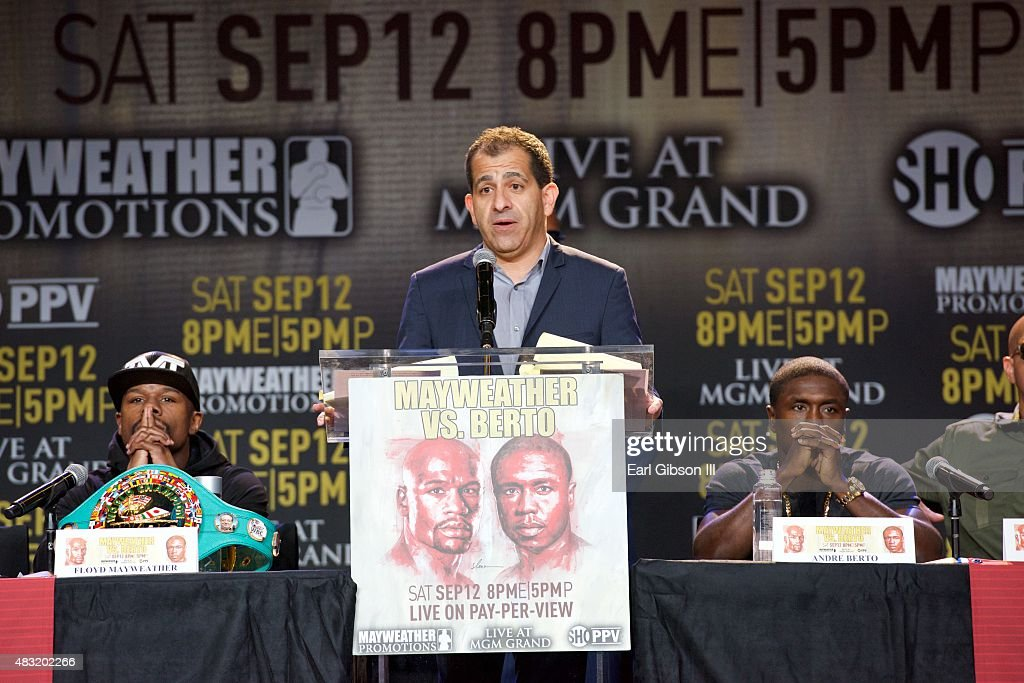 """Floyd """"Money"""" Mayweather And Andre Berto Host Los Angeles Press Conference Announcing Las Vegas Fight Date"""